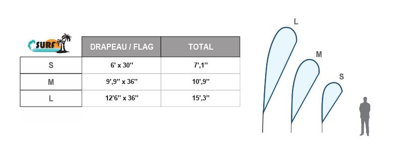 Specs drapeau extérieur Surf